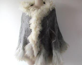 Felted alpaca poncho Felted scarf Alpaca Women scarf Grey shawl alpaca wrap natural fur wrap felted wrap alpaca wool cape Galafilc