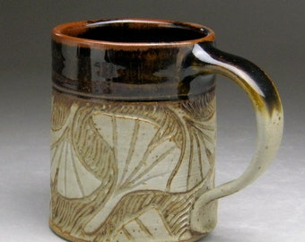 Stoneware Mug with Ginkgo Leaf Design