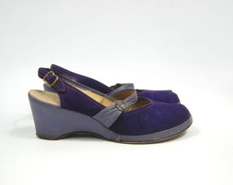 1940s - 50s size 8 Purple Wedges - Peep Toe Wedge // Lilac Royal Purple Suede // Size 8N Narrow