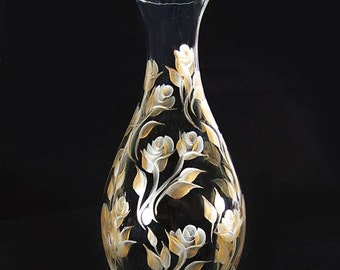 Elegant Hand Painted Wine Liquor Beverage Decanter - Timeless Design of Gold and Silver Roses 33 oz - 50th Anniversary Gift Wedding Gifts