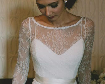 "Chantilly-Style Lace Bridal Top that is a Wrap Style, The ""Brooke Top"""