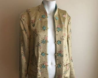 SALE 50s 60s Champagne Yellow and Turquoise Blue Reversible Vintage Silk Jacket • Chinese Silk • Free Size