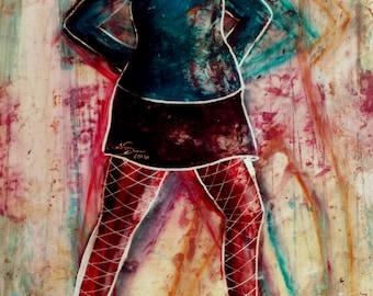 LONG-LEGGED LADY 6  original encaustic painting