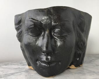 Face Planter Head Sculpture Vase, Flower Pot Garden Art Figure Pot