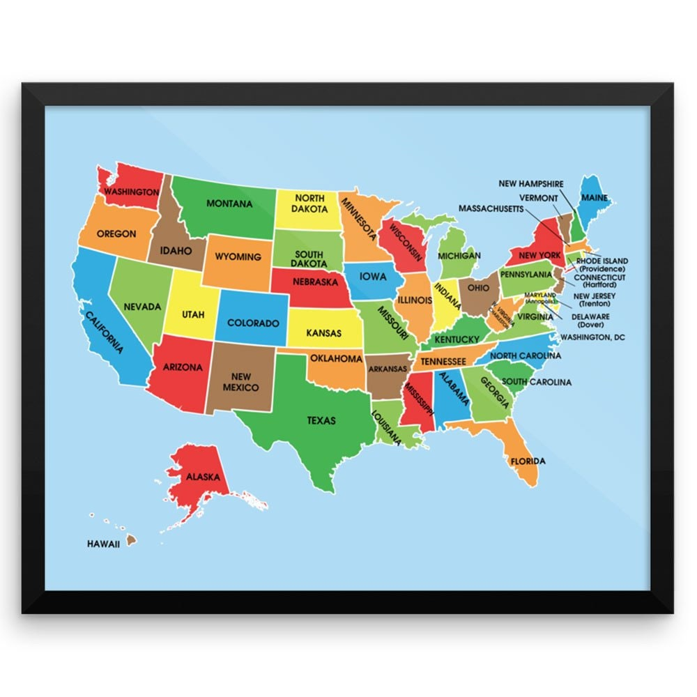 US Travel Map Wall Art Print Colorful Usa Map By
