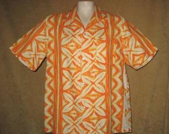 Mens Hawaiian Barkcloth Shirt Malihini L 60s Vintage