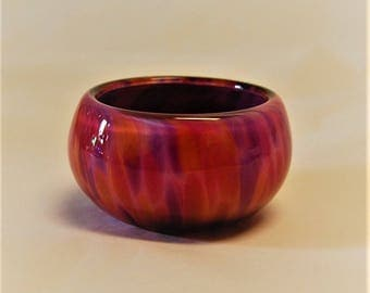 Violet and Sunset Glass Salt Bowl
