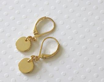 Gold Dot Earrings - Simple Earrings - Celebrity Inspired - Dangle Earrings - Everyday Earrings - Polished Discs - Disc Earrings