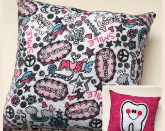 Tooth Fairy Pillow for Girl, Girl Tooth Pillow, Girly Pillow, Gift for Her, Gift for Girls, Girl Pillow, Girl Power Pillow
