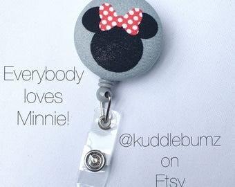 Minnie Mouse Badge Holder - ID Badge Reel - Retractable Badge Holder - Nursing Gift - Teacher Gift