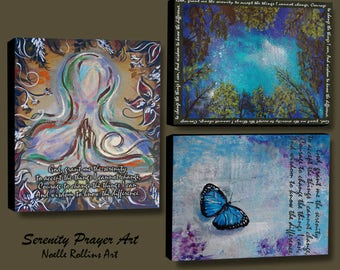 Serenity Prayer wall art cardinal mountain pose praying butterfy 20x16 10x8  14x11 inches large statement piece accent butterfly