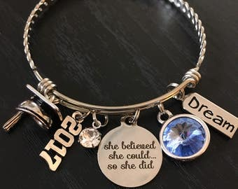 Graduation Gift, Graduate Bracelet, Class of 2017, Senior 2017, College Graduation, Inspirational Jewelry, She Believed, Charm Bangle