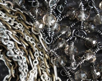 DESTASH Necklace & Chain Lot #3. Fifteen Multi Finish Necklaces. Topaz Rosary Chain. Lobster Claw Clasps. And More. Jewelry Components