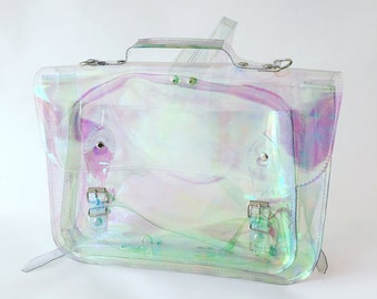 Clear Holographic plastic backpack satchel (Ready to ship)