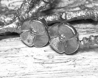Sterling silver handmade Pansy stud earrings.