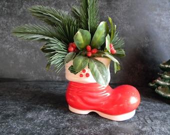 Vintage Christmas red santa boot ceramic holiday decor farmhouse chic