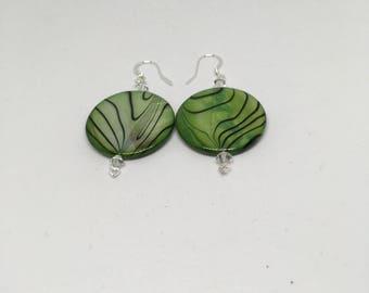 Green Glass Earrings / Plated Silver