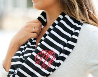 Striped Infinity Knit Scraf including three letter monogram, initial, or name