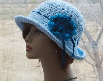 Womens Crochet Hat, Brim  Hat, Crochet Sun Hat, Bohemian Style Hat, Flapper  Hat, Summer Hat, Summer Beach Hat,  Womens Hat