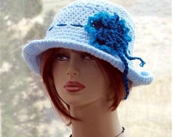 Womens Crochet Hat Brim  Hat, Sun  Hat, Flapper  Hat, Summer Hat, Summer Beach Hat,  Womens Wide Brim Hat