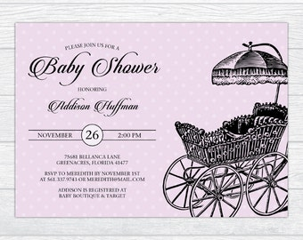 Vintage Stroller Baby Shower Invitation, Personalized Baby Shower Invite, Gender Neutral Baby Shower Invite Gender Reveal Baby Shower Invite