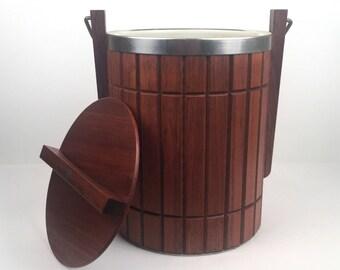 Vintage 190s Mid Century Modern Wooden Ice Bucket