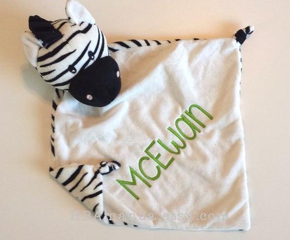 Black and White ZEBRA Minky Blanket - Monogrammed Zebra Blankie - Monogram Baby Gift - Security Blanket - Cubbie Blanket