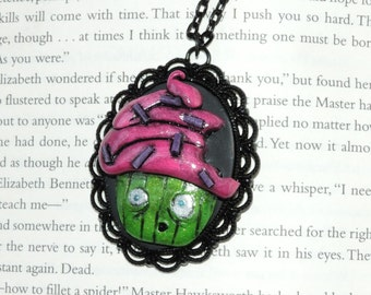 Clearance Zombie undead cupcake cameo pendant necklace. bitten cupcake. adjustable black color chain. walking dead.