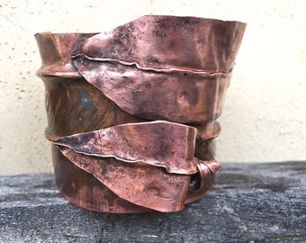 Vintage Handwrought Copper Leaf Cuff Bracelet Studio Jewelry