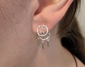 Silver Dreamcatcher Ear Jackets - 925 Sterling Silver