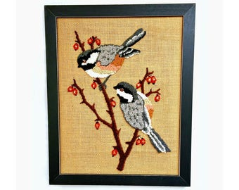 Framed Chickadee Wall Hanging, Vintage Punch Hook Chickadees Wall Hanging, Hooked Yarn Chickadee Bird Wall Decor, Vintage Chickadee Wall Art