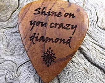 Wood Guitar Pick - Premium Quality - Handmade with Rustic California Apricot Wood - Laser Engraved On Each Side - Actual Pick Shown