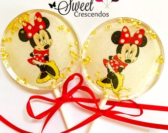 Minnie the Mouse Inspired Lollipops- Hard Candy Lollipop- Minnie Birthday Party- Party Favors