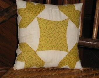 """Antique Quilt Pillow Grain Sack Early Fabrics 1800s Yellow Calico Primitive Farmhouse Cottage Cabin Decor Cotton Quilt Pillow 9 1/2"""" Square"""