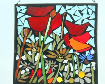Stained glass, Mosaic ,Poppies , flowers   -  Stained Glass SunCatcher or wall Decoration