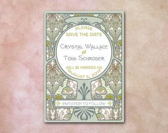 Art Nouveau Save the Date / Green Vines / 5x7 / Wm. Morris, Mucha, Gatsby / Art Deco / Blue Creme Tan / Wedding, Anniversary, Birthday / DIY