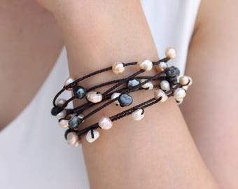 Pearl Woven Bangle Strand Bracelets Black And White