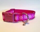 MEDIUM Pink snowflakes Holiday dog collar