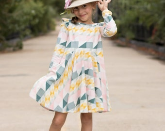 Long Sleeve Dress Pattern, Easy Dress Sewing pattern, Magnolia Top & Dress Pattern, Girls Sewing Pattern, Knit Dress Pattern