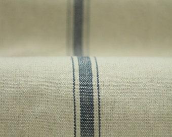 Grain sack Fabric by the Yard- Three Stripe Blue