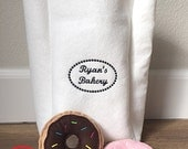 Felt Bakery Bag Customizable Kids Pretend Toy - Add Felt Donuts by Choice - Wool Felt Sweets - Pretend Paper Bag and Food