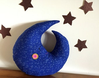 moon pillow, moon plush, moon cushion, stars and moon, luna, stuffed moon, crescent moon