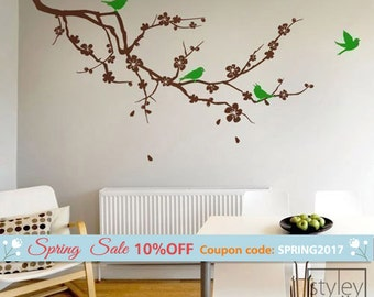 Cherry Blossom Branch and Birds Wall Decal, Cherry Tree Wall Decal, Cherry Branch with Flowers Wall Decal, Cherry Blossom Sticker Wall Decor