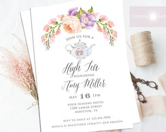 High Tea Invitation, Floral High Tea Invitation, Bridal Tea Invite Printable, Watercolor Invite, Bridal Shower Invitation, jadorepaperie