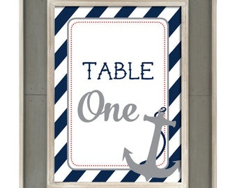 Table Numbers - Nautical Stripes and Anchor / Wedding / Bridal Shower / Baby Shower / Birthday Party