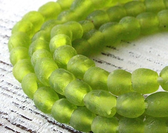 7mm Recycled Glass Beads From Ghana Africa - Sea Glass Style Beads - 20 beads - Lime Green