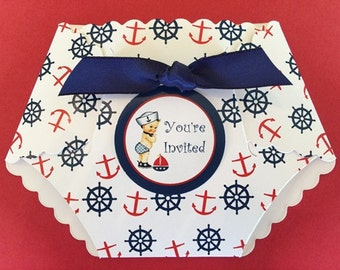AHOY! It's a BOY!  Baby Shower  Invitation / Diaper shaped invitation / Nautical / Die Cut/ Set of 10 Invitations