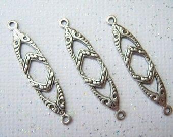 6 - Antiqued silver plated art deco connectors - FS177
