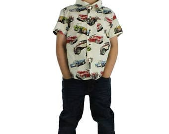 Classic Muscle Cars Boy's Snap Top