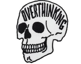 Overthinking embroidered patch. Anxiety skull glow in the dark iron on patch.